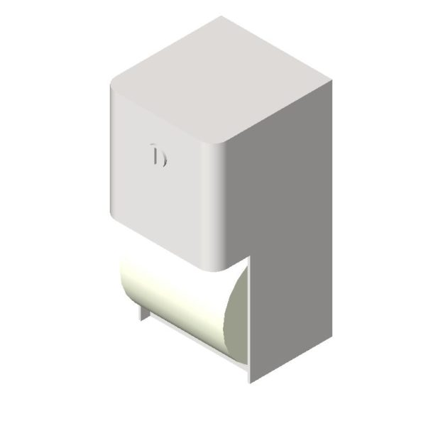 Side view recessed toilet paper dispenser