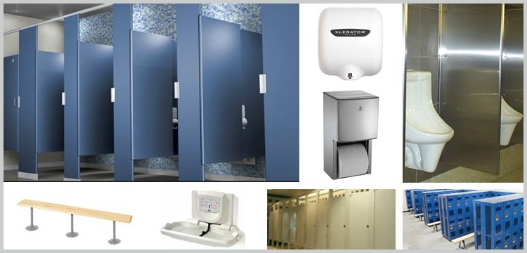 Collage of various washroom accessories